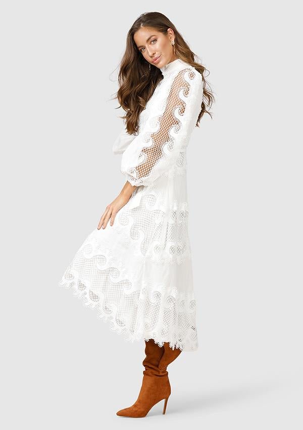 "Ministry Of Style ""Victoriana"" Lace Midi Dress - White"