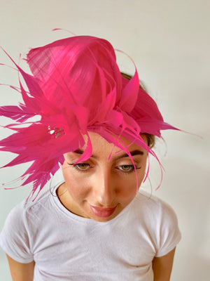 Heather B Turban with Feathers