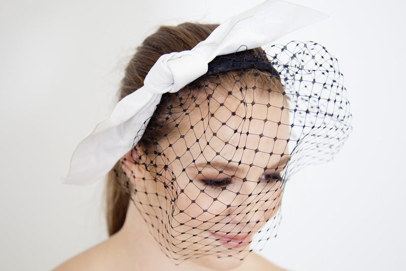 Jill & Jack Millinery White Leather Bow with Veiling
