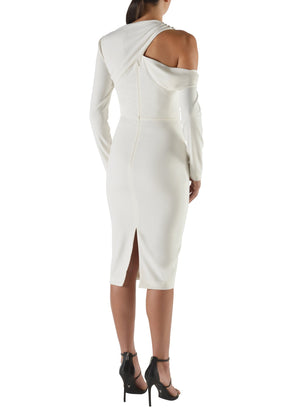 Kianna Helena Drape Dress White