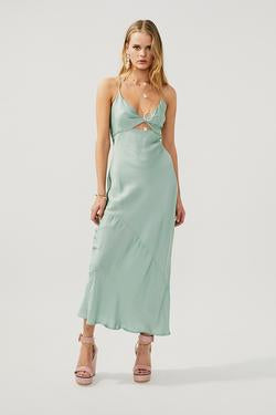 Suboo Marina Mint Twist Front Slip Dress