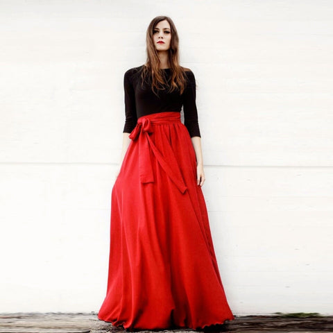 Elegant Pleated Floor Length Skirt