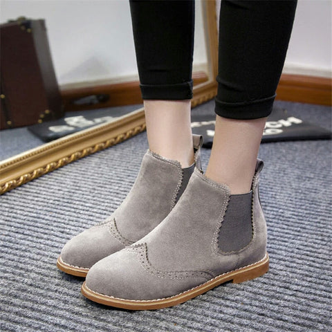 Women Flat Heels Suede Boot