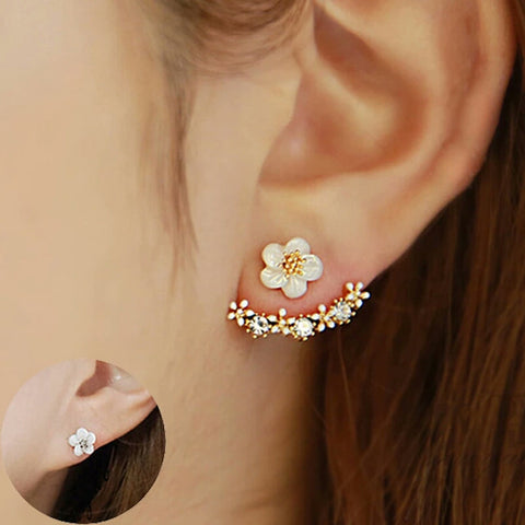 Crystals Stud Rose Earrings