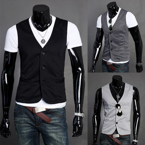 New Basic Casual Men Suit Vest
