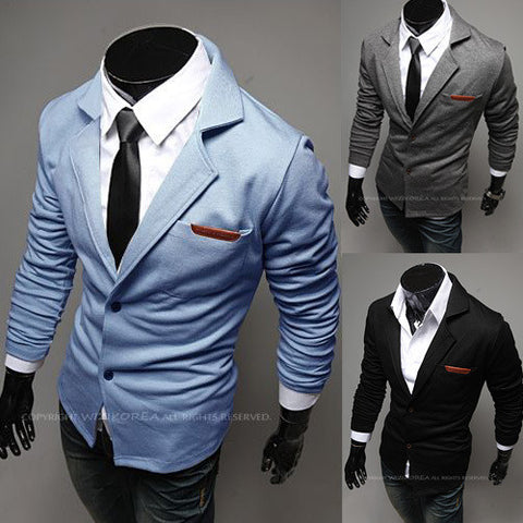 New Fashion Casual Slim Design Stylish Two-Button Suit Men Blazer