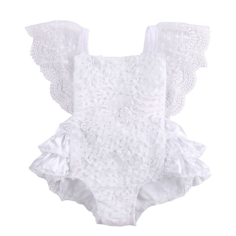 Baby Girl's Bow Cute White Romper