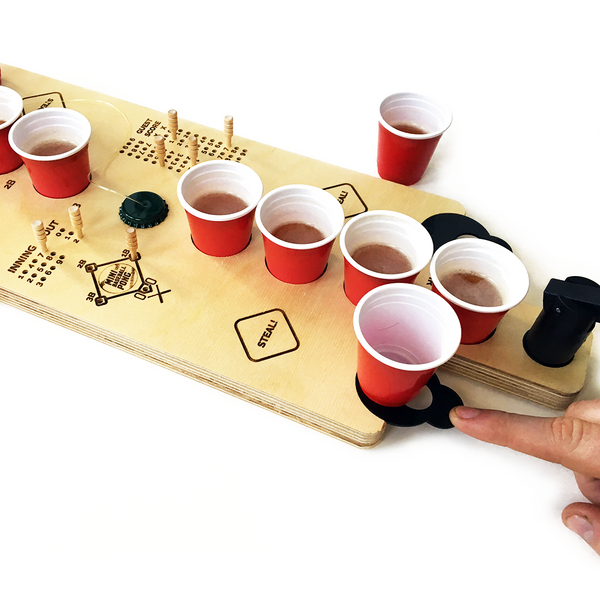 Mini Tabletop Baseball Beer Pong & Flip Cup Combo Game