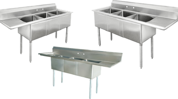 Stainless Steel 3 Compartment Sinks for Restaurants