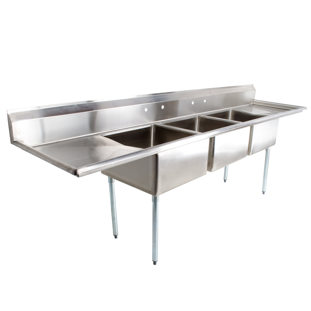 "Stainless Steel Heavy Duty 3 Compartment Individual Bowl Sink 124"" x 30"" with 2 Drainboards - AT Faucet"