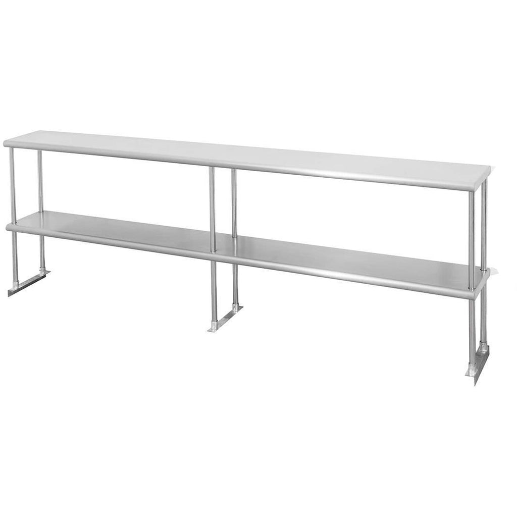 "Stainless Steel Double Overshelf 12"" x 84"" - AT Faucet"