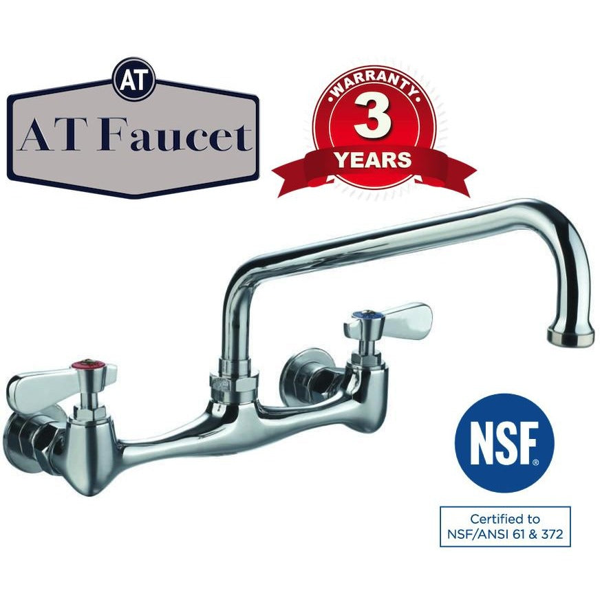 "AT Faucet 8"" Center Wall-Mount Faucet with 12"" Spout - AT Faucet"