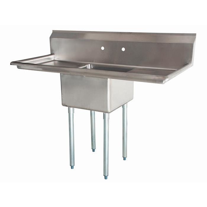 "Stainless Steel 1 Compartment Sink 54"" x 24"" with 2 18"" Drainboards - AT Faucet"