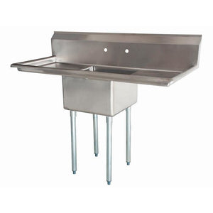 "Stainless Steel 1 Compartment Sink 54"" x 27"" with 2 18"" Drainboards - AT Faucet"