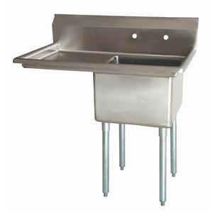 "Stainless Steel 1 Compartment Sink 43"" x 26"" with 20"" Left Drainboard - AT Faucet"