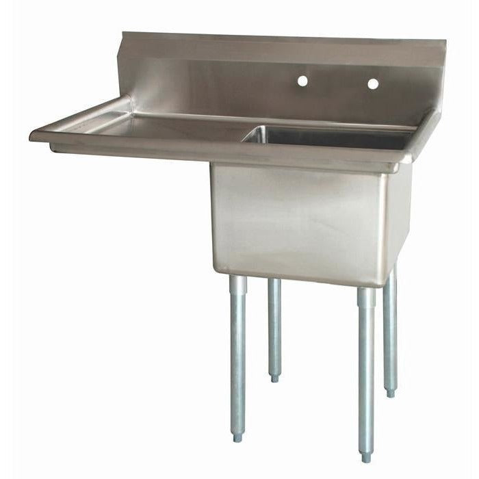 "Stainless Steel 1 Compartment Sink 51"" x 30"" with 24"" Left Drainboard - AT Faucet"