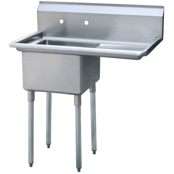 "Stainless Steel 1 Compartment Sink 38.5"" x 24"" with 18"" Right Drainboard - AT Faucet"