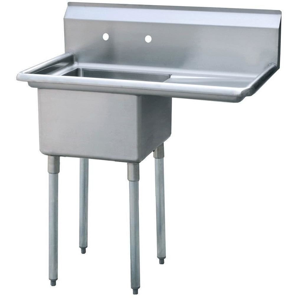 "Stainless Steel 1 Compartment Sink 43"" x 26"" with 20"" Right Drainboard - AT Faucet"