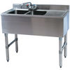 "Stainless Steel 2 Compartment Underbar Sink 36"" with Right Drainboard - AT Faucet"