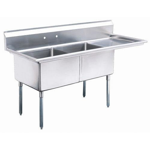 "Stainless Steel 2 Compartment Sink 56.5"" x 24"" with 18"" Right Drainboard - AT Faucet"