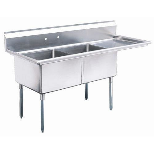 "Stainless Steel 2 Compartment Sink 63"" x 26"" with 20"" Right Drainboard - AT Faucet"