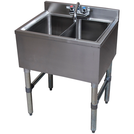 "Stainless Steel 2 Compartment Underbar Sink 24"" - AT Faucet"