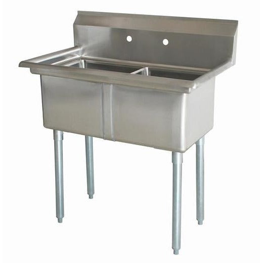 "Stainless Steel 2 Compartment Sink 41"" x 24"" No Drainboards - AT Faucet"