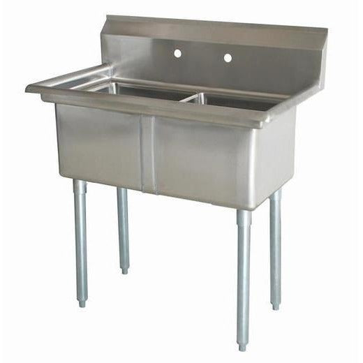 "Stainless Steel 2 Compartment Sink 35"" x 21"" No Drainboards - AT Faucet"
