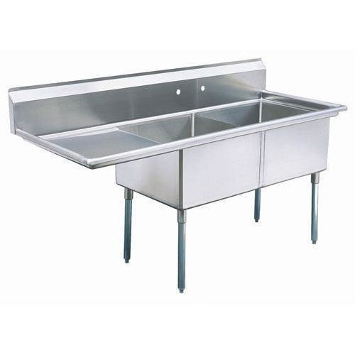 "Stainless Steel 2 Compartment Sink 63"" x 26"" with 20"" Left Drainboard - AT Faucet"