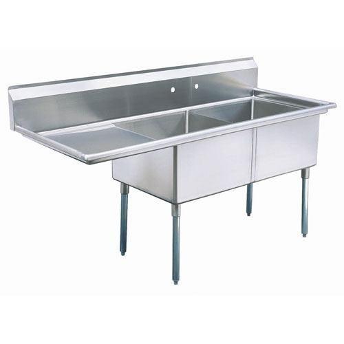 "Stainless Steel 2 Compartment Sink 74.75"" x 30"" with 24"" Left Drainboard - AT Faucet"