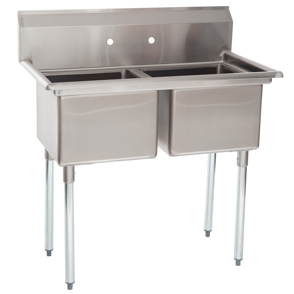 "Stainless Steel Heavy Duty 2 Compartment Individual Bowl Sink 46"" x 24"" - AT Faucet"