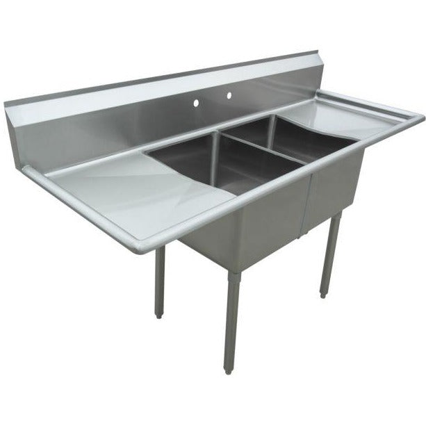 "Stainless Steel 2 Compartment Sink 74"" x 24"" with 2 18"" Drainboards - AT Faucet"