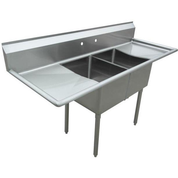 "Stainless Steel 2 Compartment Sink 72"" x 27"" with 2 18"" Drainboards - AT Faucet"
