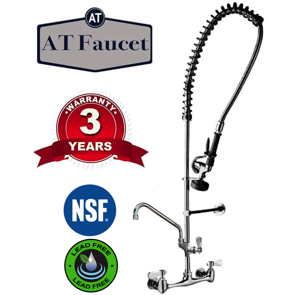 "AT Faucet 8"" Center Wall-Mount Pre-Rinse Faucet with 12"" Add-On Faucet - AT Faucet Bar & Restaurant Equipment New Jersey"