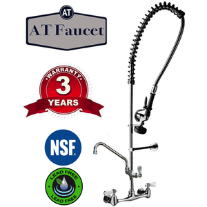 "AT Faucet 8"" Center Wall-Mount Pre-Rinse Faucet with 12"" Add-On Faucet - AT Faucet"