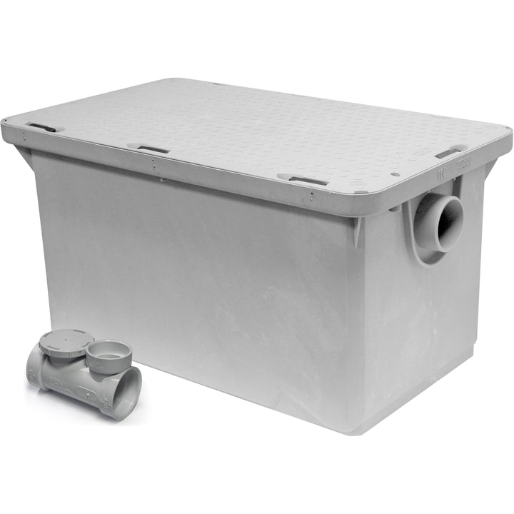 "Commercial Kitchen Endura Grease Trap 50 lb 25 G.P.M. with 3"" Inlet/Outlet - AT Faucet"