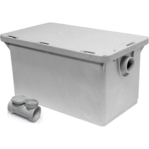 "Commercial Kitchen Endura Grease Trap 50 lb 25 G.P.M. with 2"" Inlet/Outlet - AT Faucet"