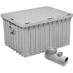 "Commercial Kitchen Endura Grease Trap 70 lb 35 G.P.M. with 4"" Inlet/Outlet - AT Faucet"