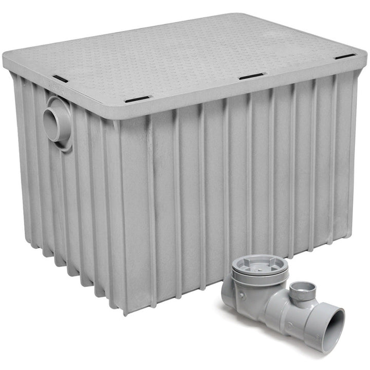 "Commercial Kitchen Endura Grease Trap 100 lb 50 G.P.M. with 3"" Inlet/Outlet - AT Faucet"