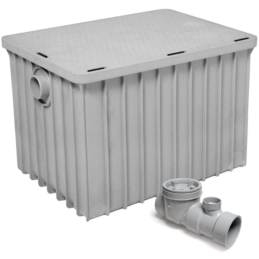 "Commercial Kitchen Endura Grease Trap 100 lb 50 G.P.M. with 4"" Inlet/Outlet - AT Faucet"