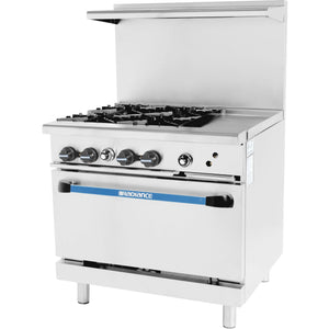 "Radiance Commercial Kitchen 4 Burner Gas Range with 12"" Griddle - AT Faucet"