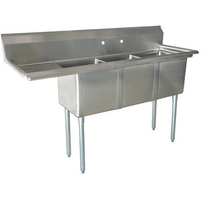 "Stainless Steel 3 Compartment Sink 60.5"" x 22"" with 14"" Left Drainboard - AT Faucet"