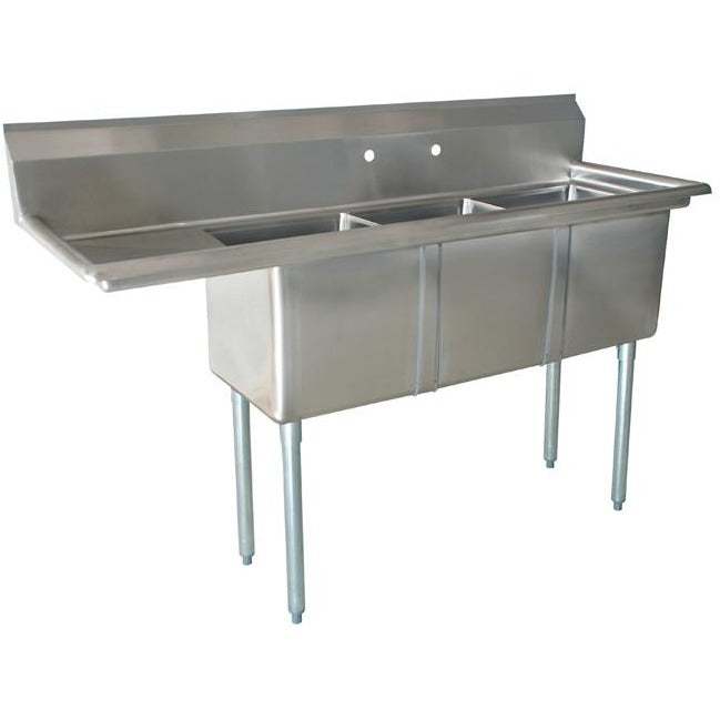"Stainless Steel 3 Compartment Sink 98.75"" x 30"" with 24"" Left Drainboard - AT Faucet"