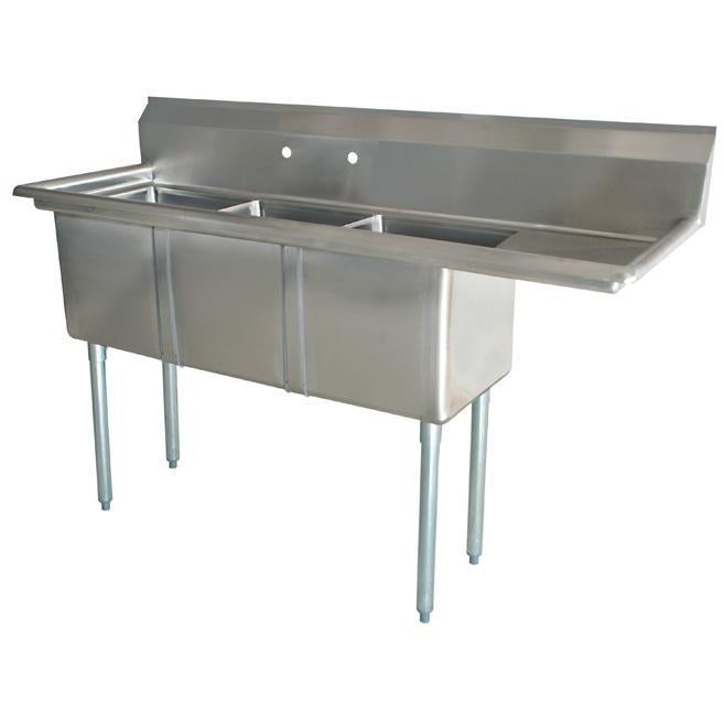 "Stainless Steel 3 Compartment Sink 60.5"" x 22"" with 14"" Right Drainboard - AT Faucet"