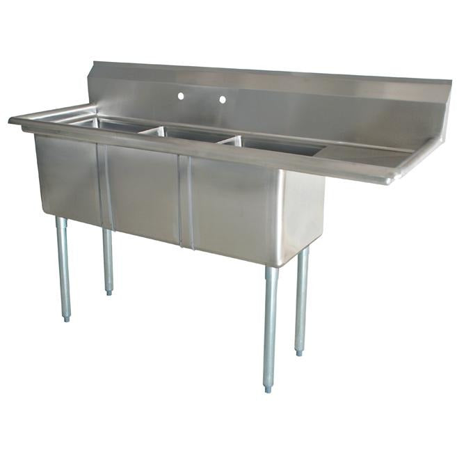 "Stainless Steel 3 Compartment Sink 74.5"" x 24"" with 18"" Right Drainboard - AT Faucet"