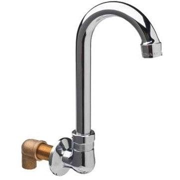 "Commercial Splash-Mount Single Spout Base with 8-1/2"" Gooseneck Spout - AT Faucet"