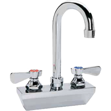 "4"" Center Wall-Mount Faucet with 8-1/2"" Gooseneck Spout Heavy Duty - AT Faucet Bar & Restaurant Equipment New Jersey"