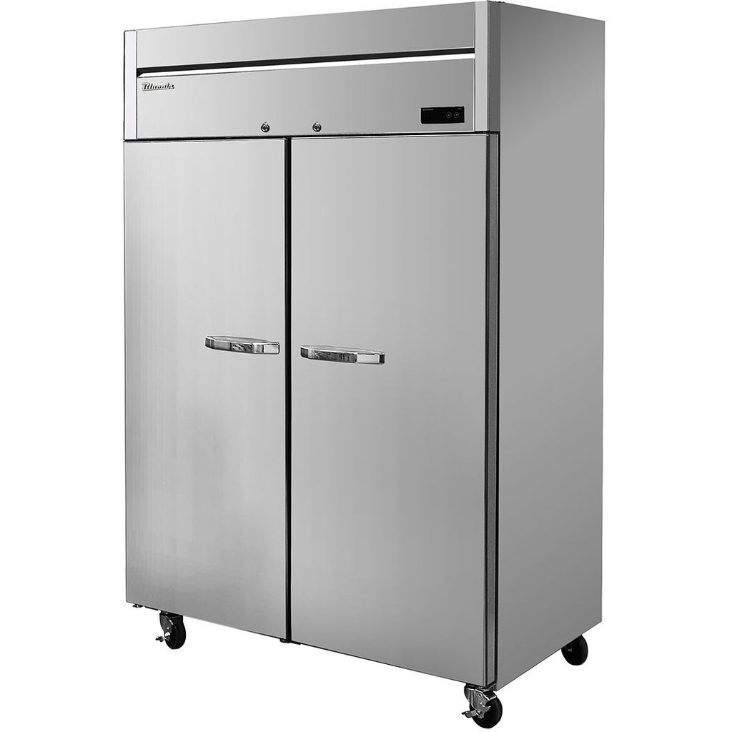 "Commercial Heavy Duty 49 Cu. Ft. 2 Door Reach-In Refrigerator 54"" Top Mount Compressor - AT Faucet"