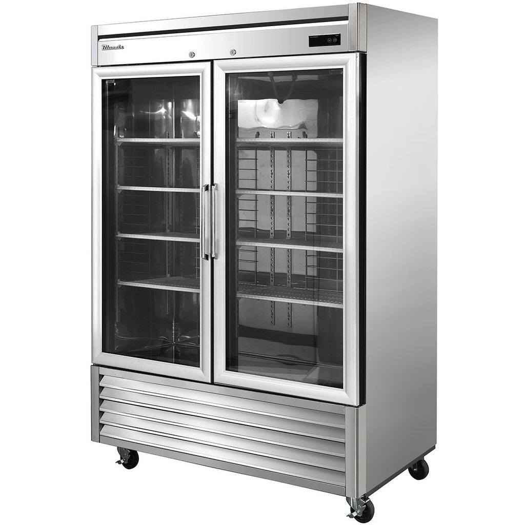 "Commercial Heavy Duty 49 Cu. Ft. 2 Door Reach-In Refrigerator 54"" with Glass Door - AT Faucet"