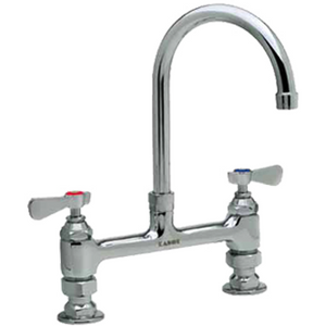 "Commercial Kitchen 8"" Center Deck-Mount Faucet with 8-1/2"" Gooseneck Spout - AT Faucet"